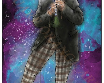 Second Doctor Patrick Troughton 2nd Dr Who Splash Style A4 Original Art Print