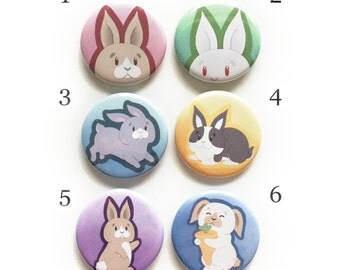 Bunny Buttons, Cute, Pins, magnets, Keychains, Ponytail Holders.