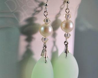 Summery Seaglass Earrings in Seafoam Green