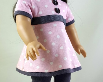 American Girl Doll Clothes 2 pc Pink & White Polka Dot Tunic with Charcoal Capri Leggings