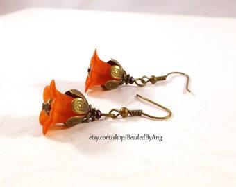 Red Earrings, Red Flower Earrings, Red Acrylic Earrings, Acrylic Flower Earrings, Red Lilly Earrings, Red Drop Earrings, Red Dangle Earrings