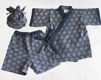 Navy Japanese Print Cotton Jinbei Set, Kimono, Yukata, Baby Boy, Newborn Gift, Birthday, Baby Shower, Unique Children Kids Gift Ideas A882