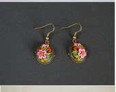 Jewelry polymer clay flower earrings Dangle Drop Earring author Jewelry Christmas gift idea for her pink and green