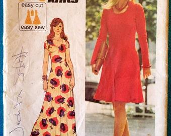 "Vintage 1973 stretch knit dress sewing pattern - Simplicity 6082 - size 12 (34"" bust, 26.5"" waist, 36"" hip) - jiffy knits - 1970's"