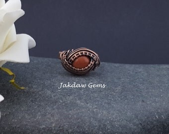 Goldstone and Copper Handmade Ring