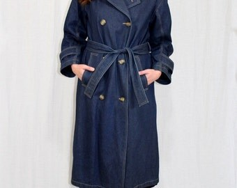 Vintage 70s 80s Evan-Picone Dark DENIM Jean Spy TRENCH Coat Retro Boho Jacket M