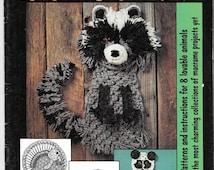 Macrame Animal Art, Macrame Pattern Booklet, Animals in Macrame, Raccoon, Panda, Monkey, Rabbit, Lamb, Snail, Turkey, Vintage Booklet