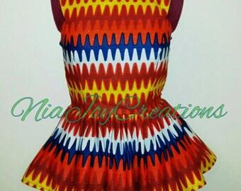 African Clothing: Runya African Print Peplum Top