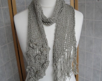 beaded flower scarf, scarf with flower trim, lacy knit fringed scarf, silky knit boa, gray-green scarf, sage green scarf with faux pearls