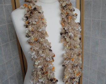 apricot ruffle scarf, ruffled neckwarmer, knitted frilly scarf, spring/summer scarf, apricot multi scarf, scarf with ruffles, vegan scarf