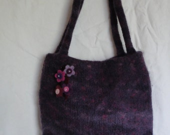 purple felt handbag, felted wool purse, knitted felt bag, flower corsage bag, purple multi handbag, large felt purse, felt flowers handbag