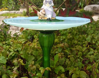 Light blue glass birdbath, Hen and Chicks birdbath, Garden totem birdbath, Light blue and lavender birdbath, Green glass, Cottage Garden