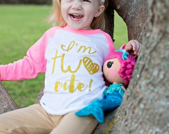 I'm TWO Cute - Second Birthday - 2 year old - im two cute - i'm too cute - Birthday Girl - I'm Two - Birthday Raglan Shirt Only