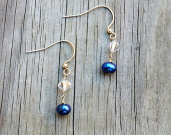 Blue Pearl and Crystal Earrings, Pearl Earrings, Blue Earrings, Dainty Earrings