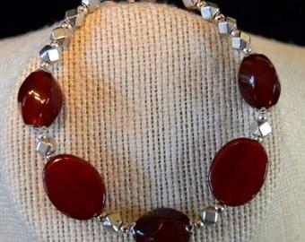 Carnelian and Silver Bracelet, Carnelian Bracelet, Silver Bracelet
