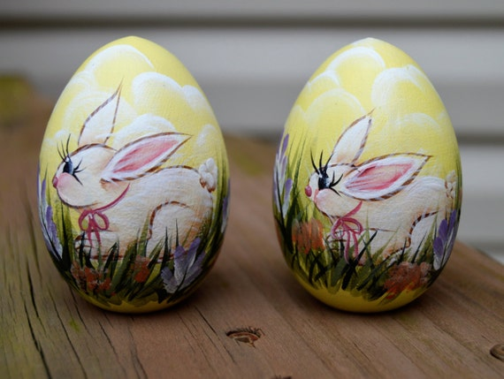 Easter bunny egg hand painted wooden bunny egg hand painted - Painted wooden easter eggs ...