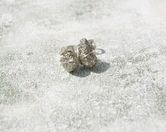 Pyrite Nugget Stud Earrings, Wire Wrapped Pyrite Earrings, Fools Gold Stud Earrings, Raw Gemstone Stud Earrings