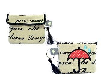 Umbrella key fob // Card holder // Business card holder // Handmade wallet // Minimalist wallet // Keychain purse // Coin purse gift for her