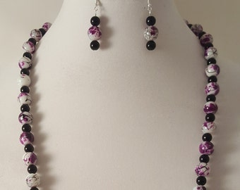 White Necklace - Black Necklace - Purple Necklace - Painted Bead Necklace - Spotted Necklace - Speckled Necklace - Purple Jewelry Set