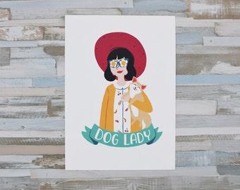 Dog Lady Illustration. Print for dog lovers