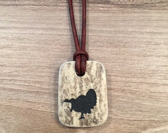 """Leather deer antler necklace with gobbling turkey engraved """"Antler Jewelry"""""""