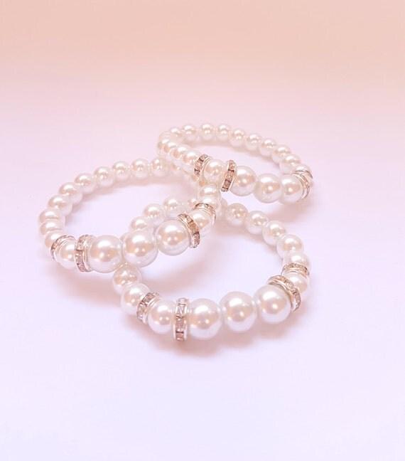 Set of 3 bracelet  Bridesmaid Bracelet Pearl Bracelet Flower Girl Bracelet Bridesmaid Jewelry Flower Girl Accessories Girls Pearl Wedding