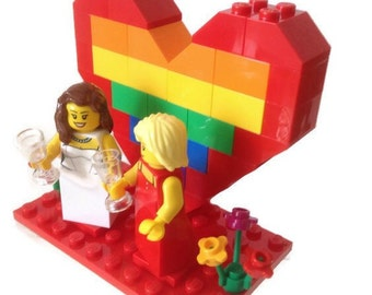 Gay Lesbian Wedding Cake Topper *Customised* Lego Bride And Bride Minifigures Gay Pride Rainbow Heart Flowers Rings/Glasses Wedding Gift