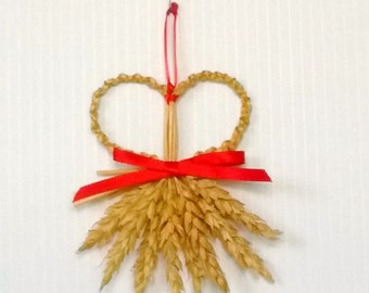 Wall Decor - Wheat Weaving - Corn Dolly - Rustic - Heart's Desire, wedding, affirmation, Valentine's Day, folk art, bohemian, boho chic