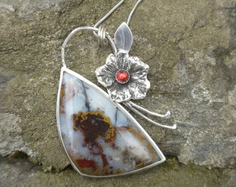 St. Johns Flower Agate  and Garnet Pendant with Chain in Silver