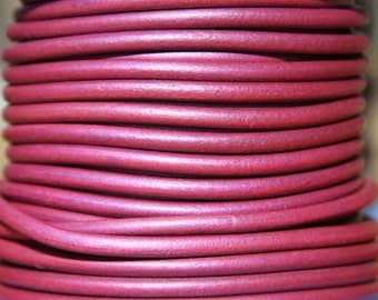 MADE in SPAIN 1 yard 4mm metallic pink leather cord, 4mm round leather cord, jewelry leather cord (4PINKMA61)