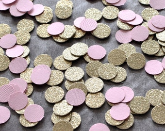 "Paper Confetti, 200pc 3/4"" Pink Gold Confetti, circle confetti, wedding decor, table decor"