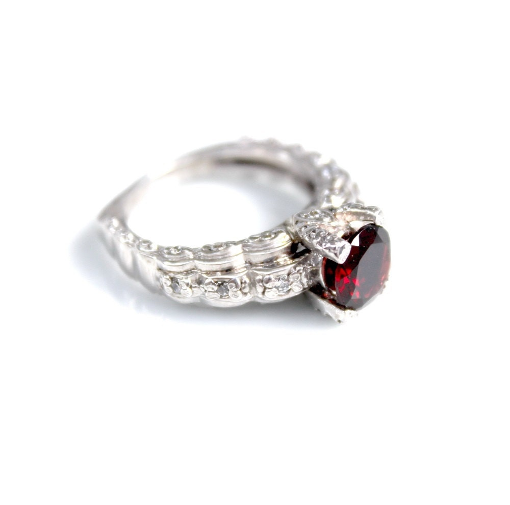 Garnet Bands: Garnet Ring Silver Garnet Ring Art Deco Ring Red Stone