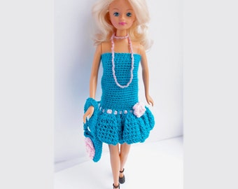 """Barbie clothes, Turquoise outfit, Hand knitted doll clothes, Handmade Barbie doll dress handbag doll necklace Barbie Liv 12"""" Fashion dolls"""