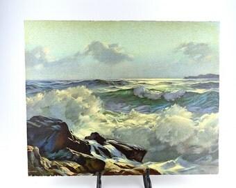 Ocean Waves Litho Print ~ AJ Shelton Sea Painting ~ Nautical Art ~ GLCO USA ~ Goes Lithographing Company