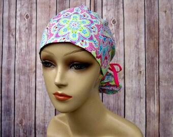Womens Surgical Scrub Caps-Ponytail Scrub Hat- Summer Paisley