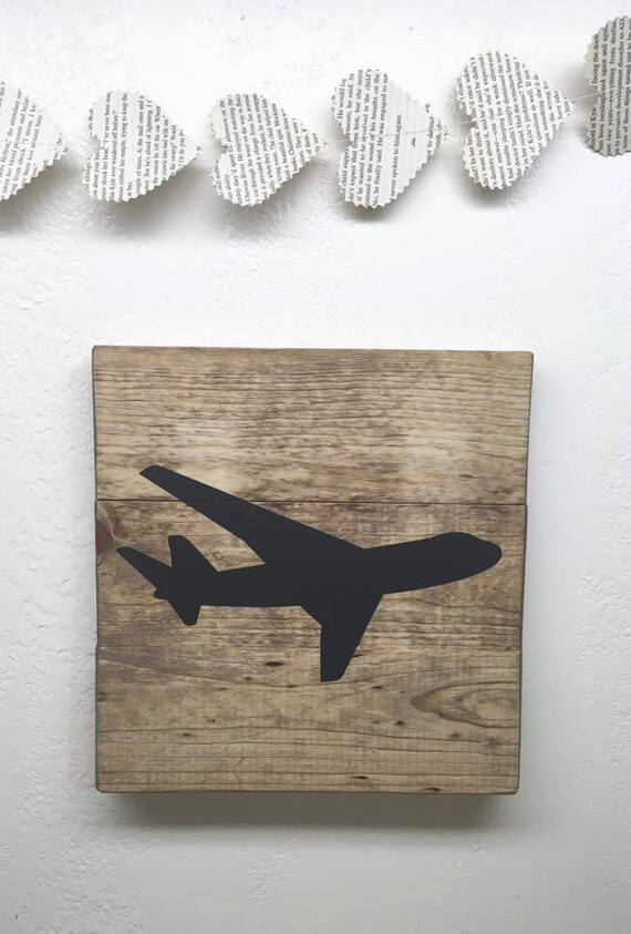 Wooden Airplane Wall Decor : Small airplane wood sign rustic wooden plane wall hanging