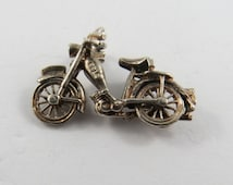 Mechanical Vintage Motorcycle with Movable Wheels Sterling Silver Charm or Pendant.