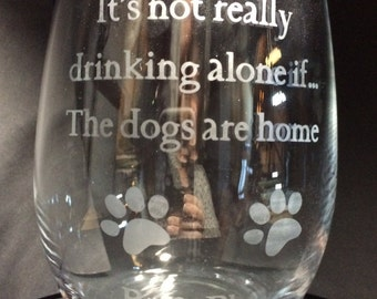 Funny wine glass - etched glass