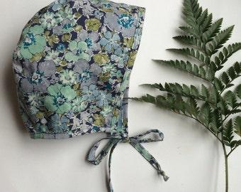 Blue green liberty of london floral bonnet