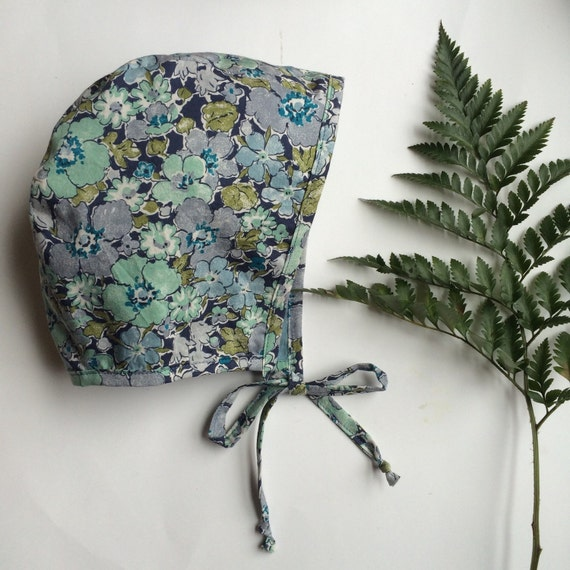 Blue green liberty of london floral bonnet