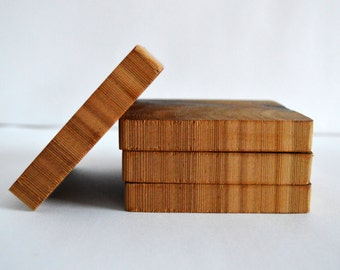 Square Wood Coasters - Oiled Cedar - Set of 4 Count