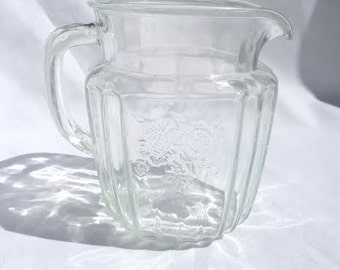 Vintage 1930's Hocking Glass Mayfair Open Rose Square Glass Pitcher in 'Crystal'