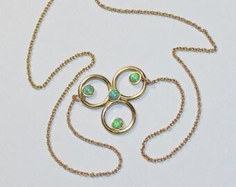 Green Opal Necklace, Drop gemstone necklace gold, Gemstone necklace, Opal jewelry, Opal pendant necklace, Tiny necklace