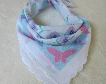 Butterfly Bib Baby Handkerchief Scarf Bandana Bib Vintage Floral Handkerchief Scarf for Baby Girl Toddler Girl Lightweight Summer Scarf