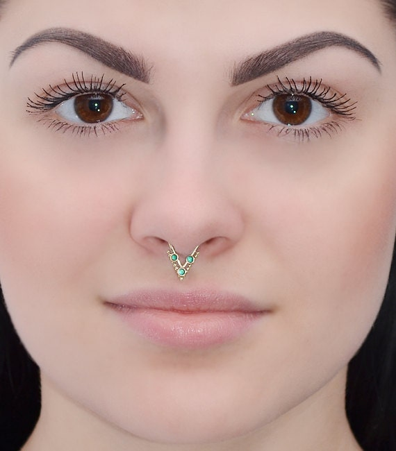 gold septum ring 2mm emerald nose ring by pjcreationsstudio