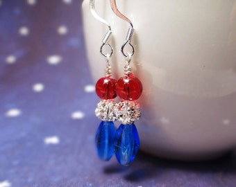 Red white and blue earrings, Patriotic earrings, Independence day earrings, Freedom celebration earrings, USA patriot earrings, July 4th