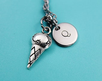Ice Cream Silver Charm Necklace, Ice Cream Necklace, Silver Charm Necklace Ice Cream, Personalized Initial Necklace, Gifts for Her under 30