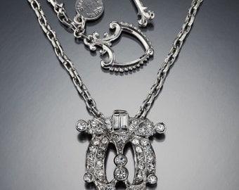 Art Deco Crystal Pendant Necklace