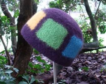 Rainbow Patchwork Felted Wool Hat