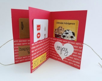 Mini 4x3 Birthday Book, Simple Red Card, Happy Birthday Gift Card Holder, Mini Card for Him, Simple Birthday Book, Mini Book, Gift Card Book